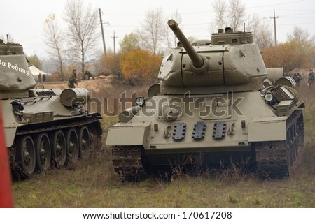 KIEV, UKRAINE -NOV 3: Soviet tank of WWII T-34 during historical reenactment of WWII, Battle for Kiev 1943 on November 3, 2013 in Kiev, Ukraine