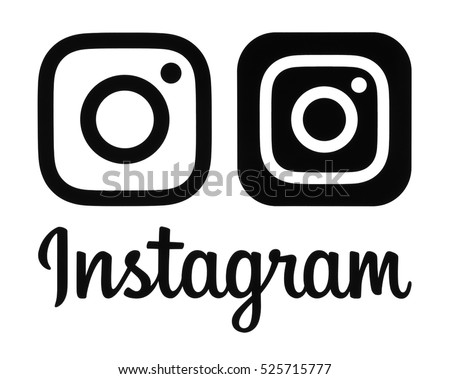 Kiev, Ukraine- November 26, 2016: Black Instagram new logo and icon printed on a white paper. Instagram is an online mobile photo-sharing, video-sharing service