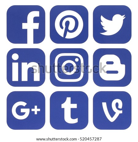 Kiev, Ukraine - November 15, 2016: Collection of popular social media icons printed on white paper: Facebook, Twitter, Google Plus, Instagram, Pinterest, LinkedIn, Blogger, Tumblr and others