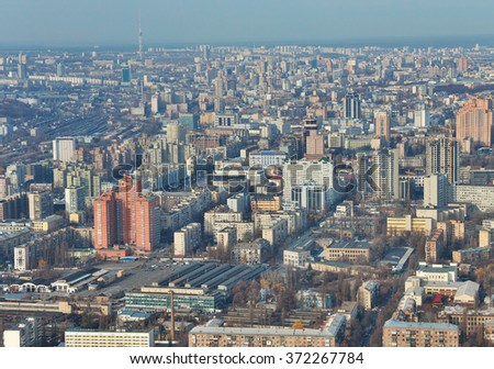 Kiev, Ukraine - November 12, 2010: Kiev downtown aerial view from the board of an airplane