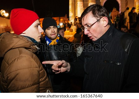 KIEV, UKRAINE - NOVEMBER 29: Lutsenko at Pro-Europe protest in Kiev on november 29, 2013, Kiev, Ukraine