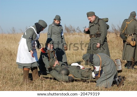 KIEV,UKRAINE. 9 November 2008 - Person in German WW2 military uniform. Member of military history club Red Star. Historical military reenacting Kiev ,Ukraine. 7-9 November 2008 German nurses