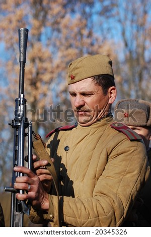 KIEV,UKRAINE. 8 November 2008 Person in Soviet WW2 military uniform. Member of military history club  Red Star.  Historical military reenacting Kiev ,Ukraine. 7-9 November 2008