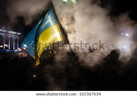 KIEV, UKRAINE - NOVEMBER 29: Pro-Europe protest in Kiev on november 29, 2013, Kiev, Ukraine - stock photo