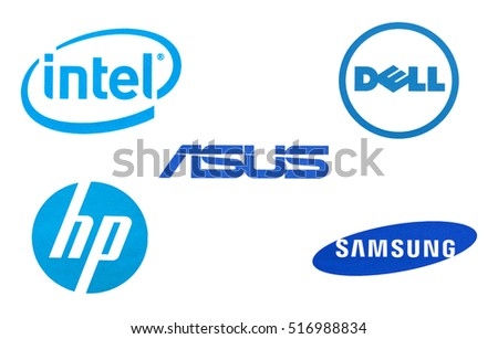 Kiev, Ukraine - November 15, 2016: Set of technology brands logos printed on paper and placed on white background.