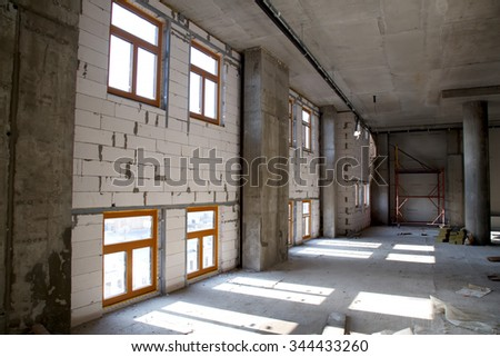 KIEV, UKRAINE - NOVEMBER 27, 2015: Spandrel wall view inside the building