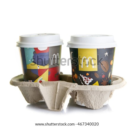 Kiev, Ukraine - November 4, 2015: Two coffee cups from McDonalds isolated on white background