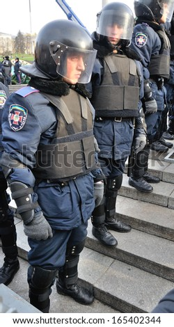 KIEV, UKRAINE - 30 NOVEMBER 2013: Unknown police-officers guard the Independence square after dispersal of proeuropean meeting on November 30, 2013 in Kiev, Ukraine.