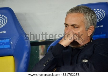KIEV, UKRAINE - OCT 20: Head coach manager Jose Mourinho during the UEFA Champions League match between Dinamo Kiev vs Chelsea, 20 October 2015, Olympic NSC, Ukraine