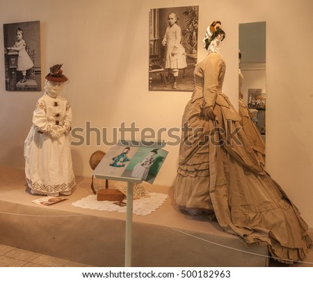 KIEV, UKRAINE - OCT12: Ladies dress and children suit to walk end of 19th century are on display at  museum exhibit of M.Ivanova's private collection of vintage clothes  Oct.12, 2016 in Kiev, Ukraine.