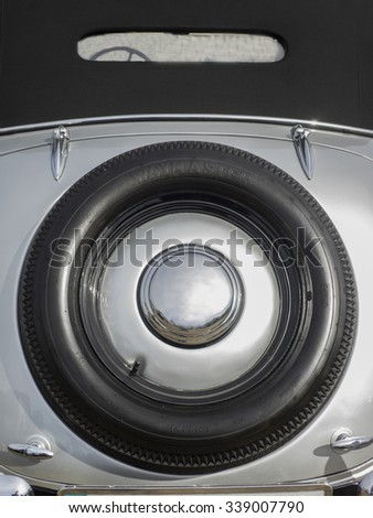 KIEV, UKRAINE - Oct 2, 2015: Stepney of an old convertible AUDI, Germany, 1930s - stock photo