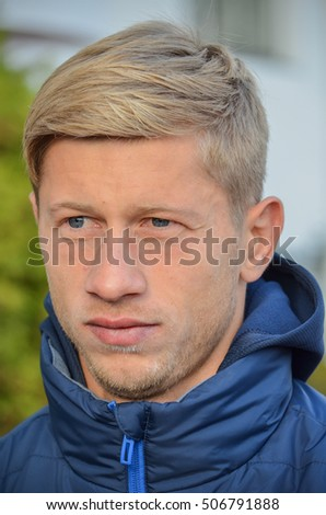 Kiev, UKRAINE - OCT 19, 2016: Valeriy Fedorchuk before the UEFA Champions League match between Dynamo Kiev vs SL Benfica (Portugal), NSC Olympic stadium, 19  October 2016, Ukraine