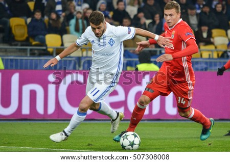 Kiev, UKRAINE - OCT 19, 2016: Victor Nilsson Lindelof (R) during the UEFA Champions League match between Dynamo Kiev vs SL Benfica (Portugal), NSC Olympic stadium, 19  October 2016, Ukraine