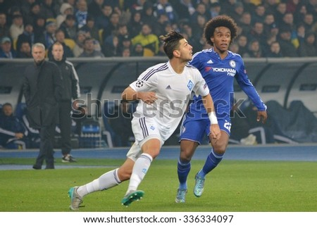 KIEV, UKRAINE - OCT 20: Willian (R) during the UEFA Champions League match between Dinamo Kiev vs Chelsea (London, England), 20 October 2015, Olympic NSC, Ukraine