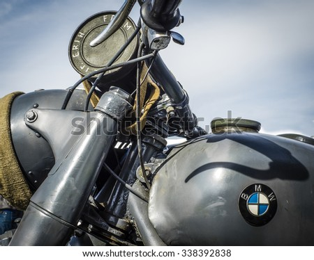 KIEV, UKRAINE - Oct 2, 2015: World War II, motobike BMW, Germany - stock photo