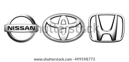 Kiev, Ukraine - October 10, 2016: Collection of popular Japan car logos, printed on white paper: Nissan, Toyota, Honda