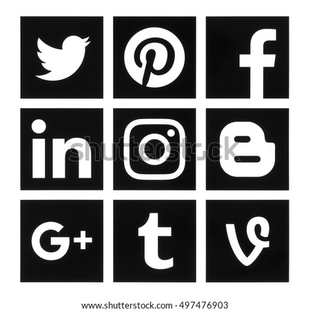 Kiev, Ukraine - October 10, 2016: Collection of popular square black social media logos printed on paper:Facebook, Twitter, Google Plus, Instagram, Pinterest, LinkedIn, Blogger, Tumblr and Vine