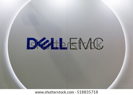 KIEV, UKRAINE - OCTOBER 09, 2016: Dell Emc, American data storage company logo illuminated closeup on booth during CEE 2016, the largest electronics trade show of Ukraine in KyivExpoPlaza EC.