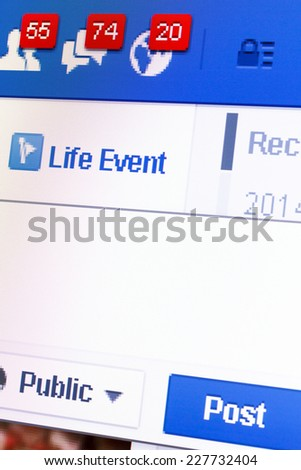 KIEV, UKRAINE - October 29: Facebook web page closeup with notifications of new friends request and messages, in Kiev, Ukraine, on October 29, 2014. - stock photo