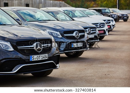 Kiev, Ukraine - OCTOBER 10, 2015: Mercedes Benz star experience. The interesting series of test drives - stock photo