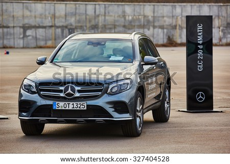 Kiev, Ukraine - OCTOBER 10, 2015: Mercedes Benz star experience. The interesting series of test drives