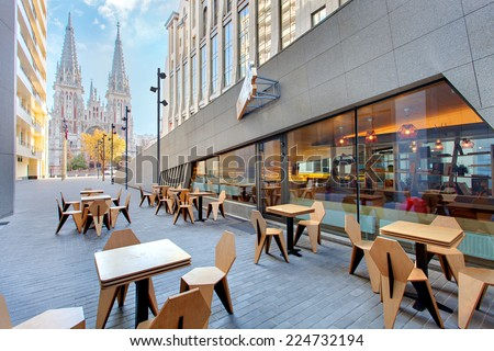 KIEV, UKRAINE - OCTOBER 7: One love espresso bar in shop complex in Kiev, Ukraine, October 7, 2014. The main bar serves breakfast, lunch and dinner. Also serves refreshing drinks and coffe. - stock photo