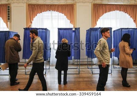 KIEV,UKRAINE - October 25, 2015: Regularly scheduled local elections in Ukraine. - stock photo