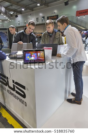 KIEV, UKRAINE - OCTOBER 09, 2016: Unrecognized people visit Asus, a Taiwan based international computer company booth during CEE 2016, the largest electronics trade show of Ukraine in KyivExpoPlaza EC
