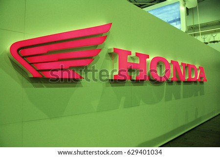 Kiev,Ukraine-28 of April,2012.Logo Honda,Honda logotype,Honda international industrial company for the production of cars and motorcycles.Detail of Honda stand