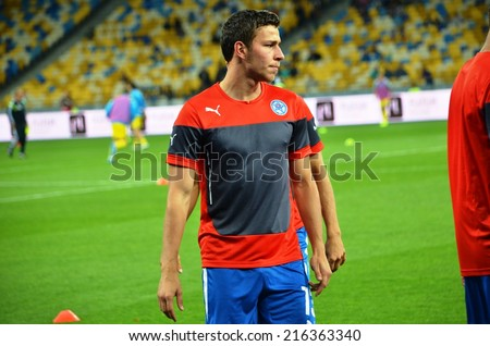KIEV, UKRAINE - SEP 8: Filip Kiss and training the national team Slovakia before the match Ukraine 0-1 Slovakia UEFA Euro 2016 qualifier match, 8 September 2014, Kiev, Ukraine