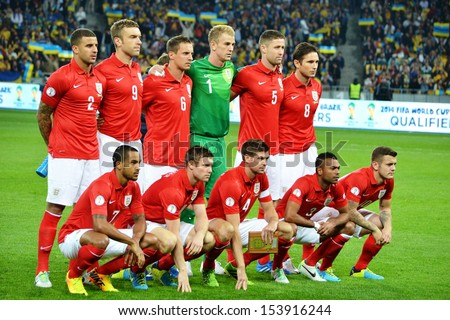 KIEV, UKRAINE - SEP 10: Group photo of the national team of England before the qualifying match 2014 World Cup between Ukraine vs England, 10 September 2013, NSC Olympic Stadium, Kiev, Ukraine - stock photo