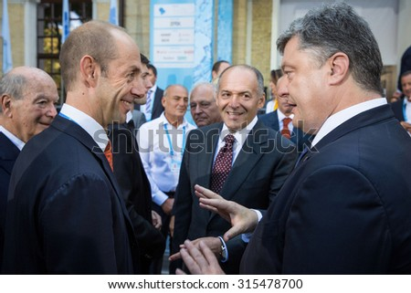KIEV, UKRAINE - Sep 11, 2015: President of Ukraine Petro Poroshenko at the 12th Annual Meeting of Yalta European Strategy (YES)