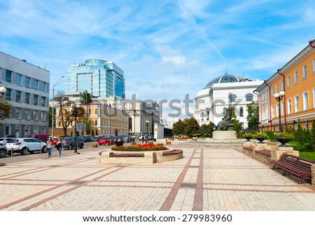 KIEV, UKRAINE - 16 SEP, 2013: Volodymyr Street is one of the central street in historical part of Kiev.  - stock photo