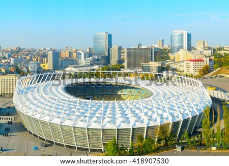 KIEV, UKRAINE - SEPT 25,2015: Aerial view of  Olympic stadium at sunset. Kiev, Ukraine - stock photo