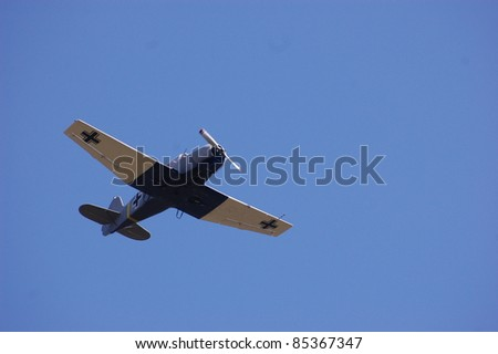 KIEV, UKRAINE -SEPT 18 : German military airplane (imitation) during historical reenactment of 1941 WWII, September 18, 2011 in Kiev, Ukraine