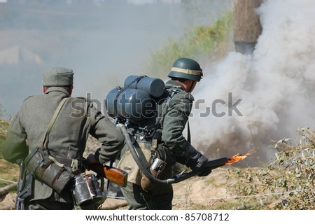 KIEV, UKRAINE -SEPT 18 : Members of Red Star history club wear historical German uniform during historical reenactment of WWII, September 18, 2011 in Kiev, Ukraine