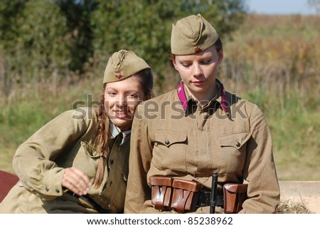 KIEV, UKRAINE -SEPT 18 : Members of Red Star history club wear historical Soviet uniform during historical reenactment of WWII, September 18, 2011 in Kiev, Ukraine