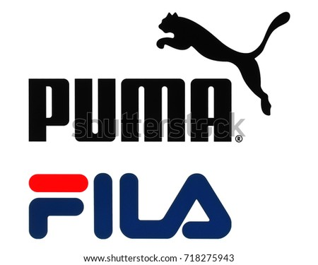 Kiev, Ukraine - September 11, 2017: Collection of popular sportswear manufactures logos printed on paper: Puma and Fila