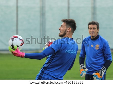 Kiev, Ukraine - September 4, 2016: Denis Boyko during an open training session before the match of FIFA World Cup qualification 2018 at Dynamo training base.