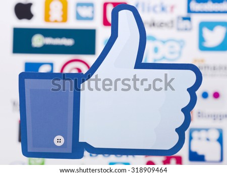 KIEV, UKRAINE - SEPTEMBER 21, 2015: Facebook like logo for e-business, web sites, mobile applications, banners, printed on paper and placed on of social media  background. Social network facebook sign - stock photo