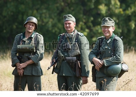 KIEV, UKRAINE,  SEPTEMBER 6, 2008: Members of military history club Red Star. Russian soldier. Historical military reenacting on September 6, 2008 in Kiev, Ukraine