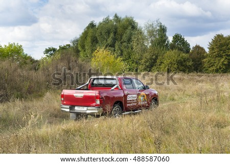 Kiev, Ukraine - September 24, 2016: New Toyota Hilux off-road test drive, September 24, Kiev, Ukraine