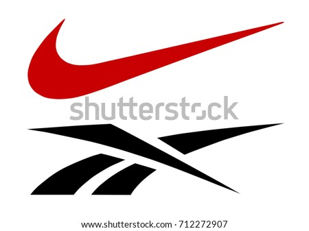 Kiev, Ukraine - September 6, 2017: Reebok and Nike logos printed on paper and placed on white background.