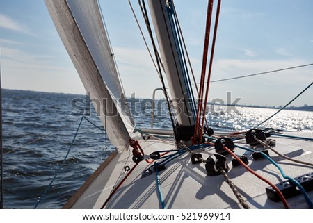 Kiev, Ukraine - September 30, 2016: Sailing yacht training day. Day before race on the Kiev reservoir or pond