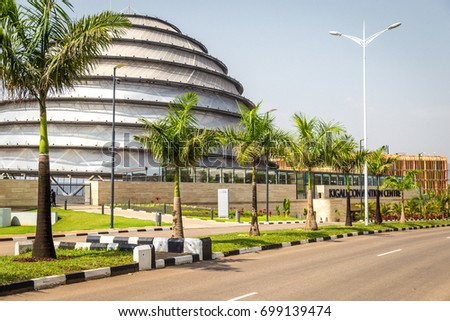 KIGALI, RWANDA - CIRCA FEBRUARY 2017: The uniquely shaped convention center was built primarily by Turkish workers imported to finish the construction on time for the African Union Summit in 2016.