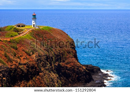 Kilauea lighthouse on a sunny day in Kauai, Hawaii Islands. - stock photo