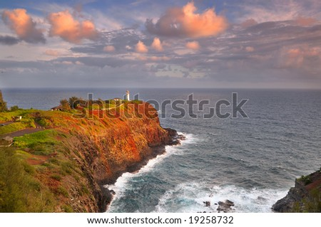 Kilauea lighthouse on Kauai in early morning sunlight
