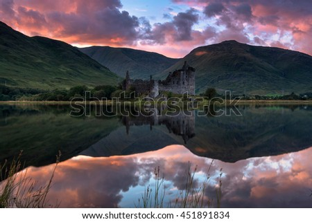 Kilchurn Castle is a ruined 15th and 17th century structure on a rocky peninsula at the northeastern end of Loch Awe, in Argyll and Bute, Scotland. - stock photo