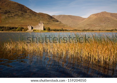 Kilchurn Castle, near Dalmally, Argyll and Bute, Scotland is a ruined tower house built in the 15th century on the shores of Loch Awe by the Clan Campbell.