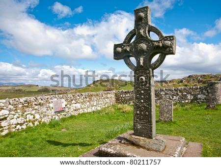 Kildalton cross and parish churchyard - stock photo